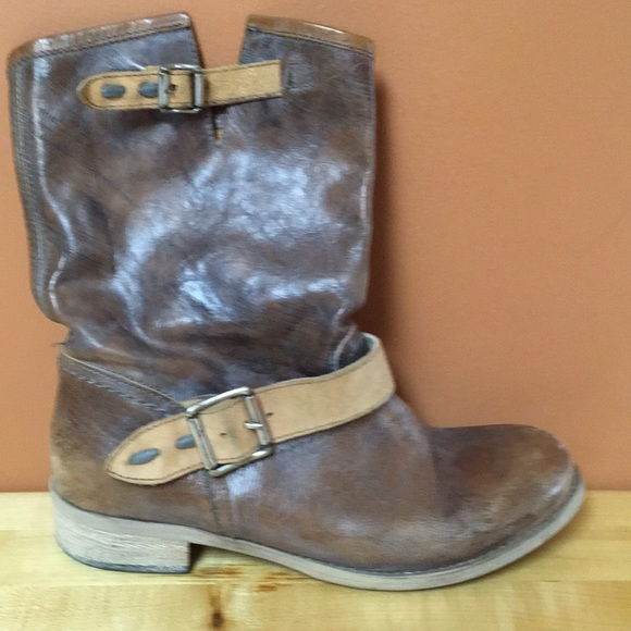 ECU made in Italy leather moto mid calf boots